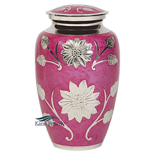 U8634 Pink brass urn with silver sunflowers