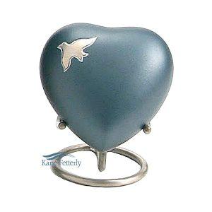 U8635H Urne miniature en coeur avec colombes