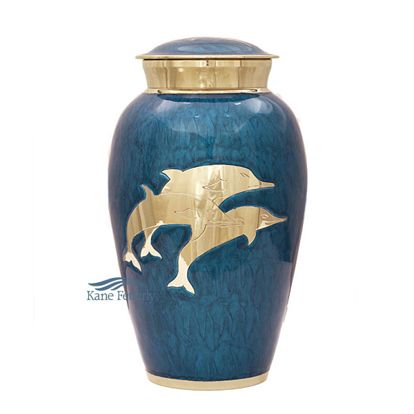 U8636 Brass urn with dolphins