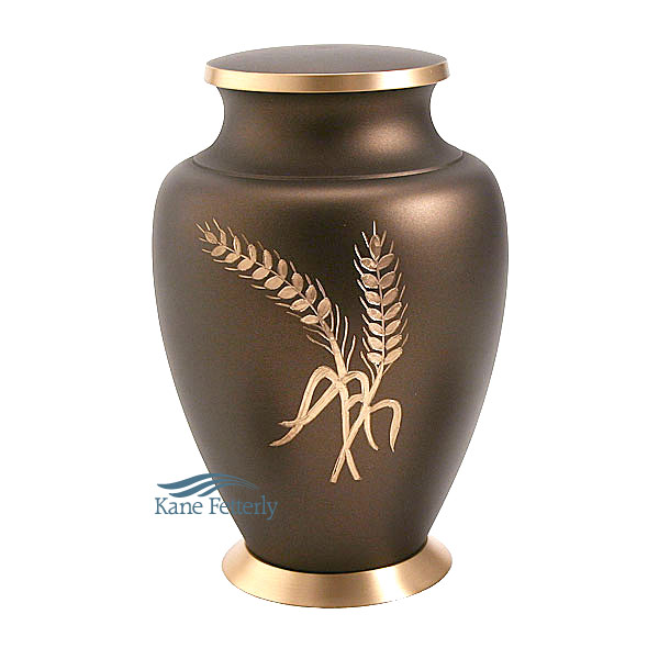 U8643 Brass urn with wheat sheaf