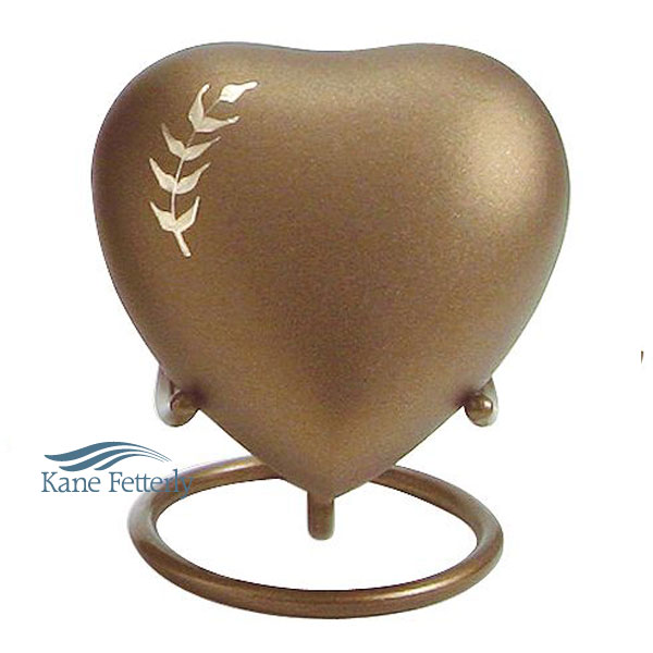 U8643H Brown brass heart with wheat