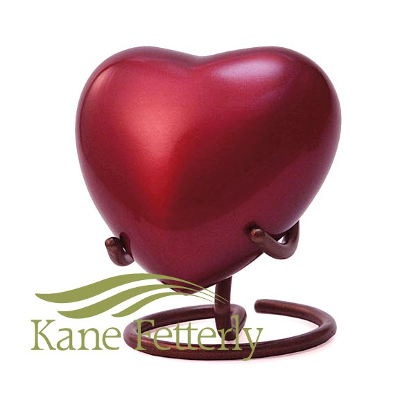 U8644H Red brass heart miniature urn