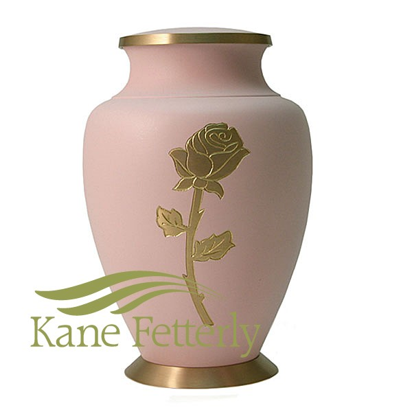 U8646 Brass urn with rose