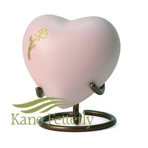 U8647H Urne miniature en coeur avec rose