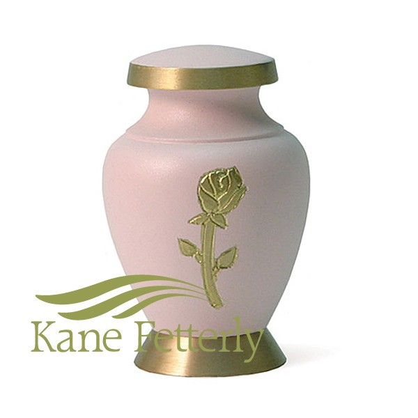 U8646K Brass miniature urn with rose