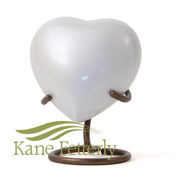 U8651H White brass heart miniature urn