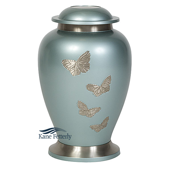 U8652 Brass urn with butterflies