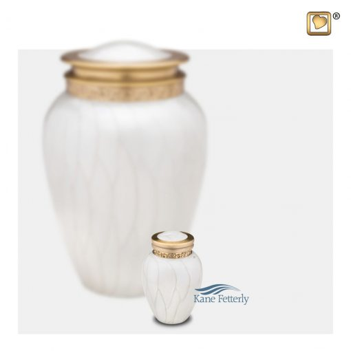 White and gold miniature urn with pearlescent finish