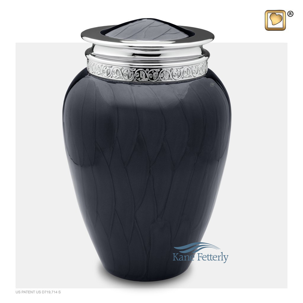 U8705 Charcoal grey and silver brass urn