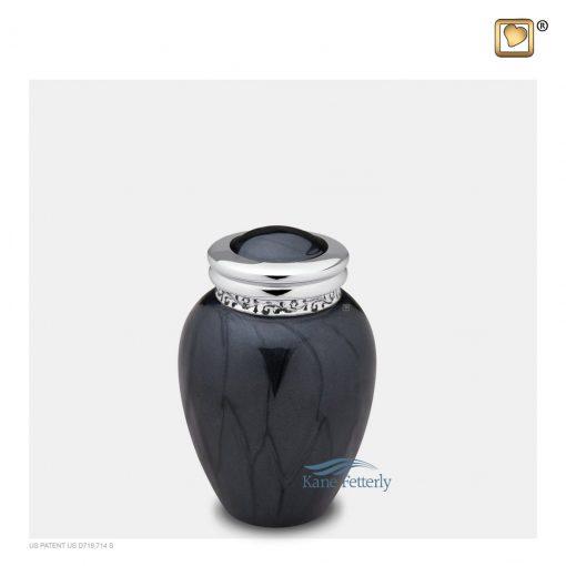 Urne miniature en laiton gris anthracite fini nacré