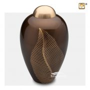 Brown and gold brass urn with gold leaf