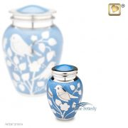Blue miniature urn with silver bird