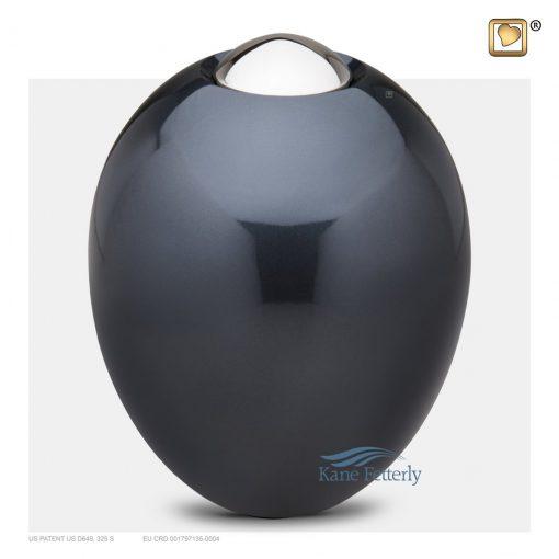 Dark grey-blue oval urn