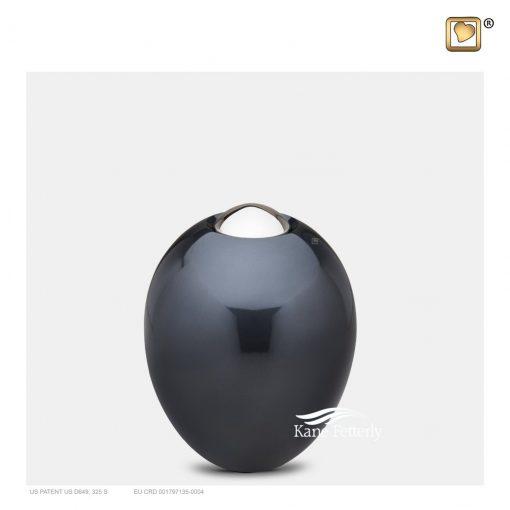 Dark grey-blue oval miniature urn