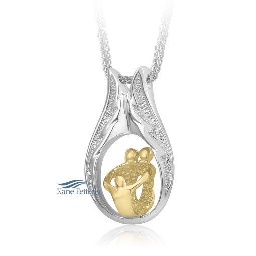 Parents and child cremation pendant