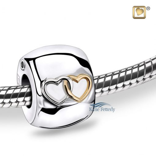 Sterling silver bead with hearts motif