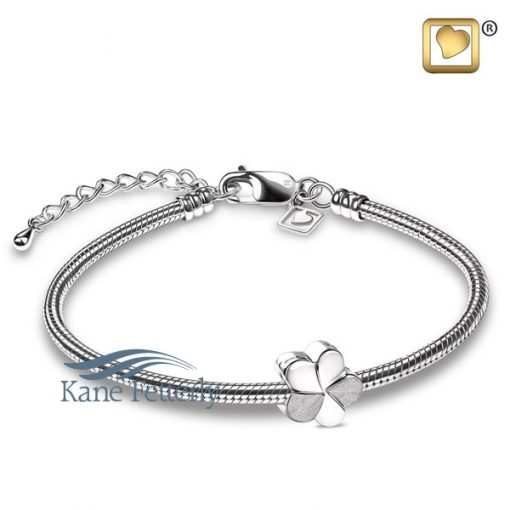 J0243 Flower charm in sterling silver (shown with bracelet)