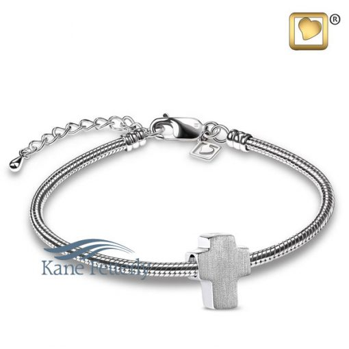J0245 Cross bead in sterling silver (shown with bracelet)