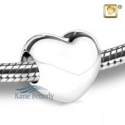 Heart bead in sterling silver