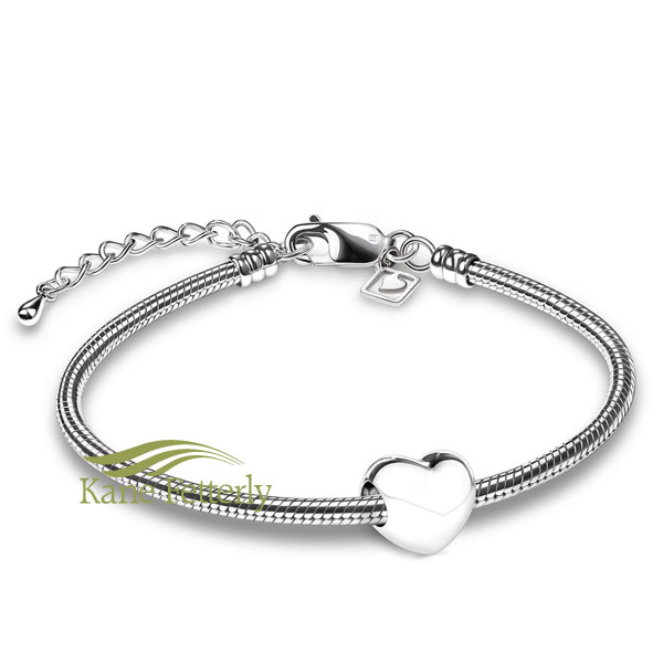 Heart bead in sterling silver (shown with bracelet)