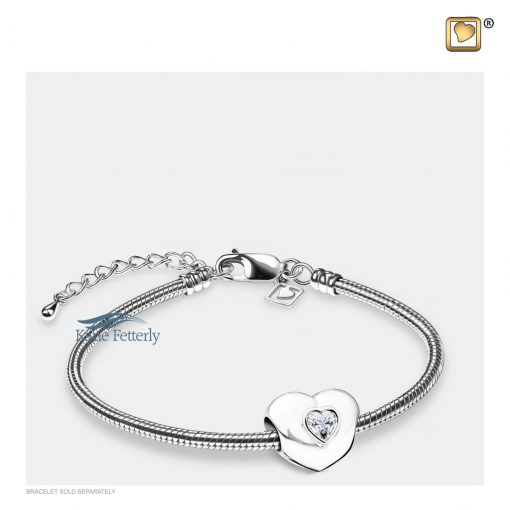 Heart bead with clear crystal (shown with bracelet)
