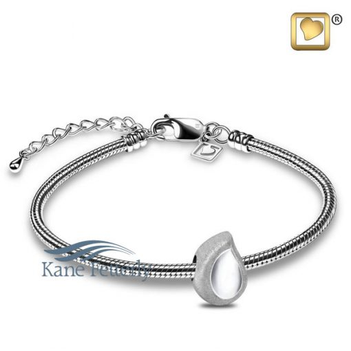J0249 Teardrop bead in sterling silver (shown with bracelet)