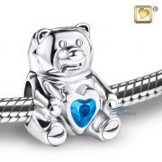 Teddy bear bead with blue crystal