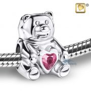 Teddy bear bead with pink crystal
