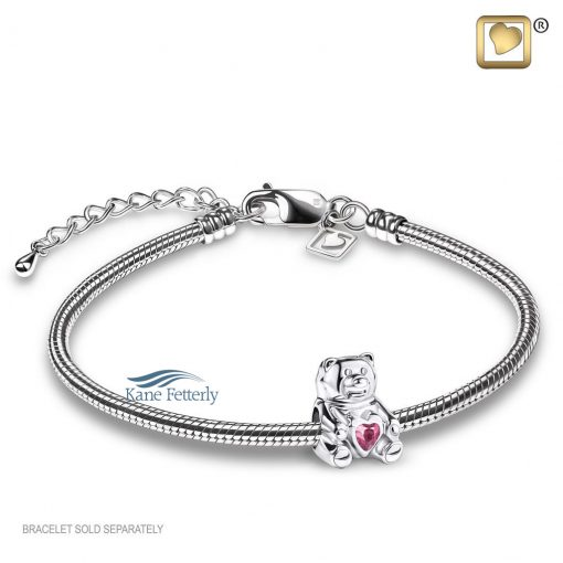 Teddy bear bead with pink crystal (shown with bracelet)