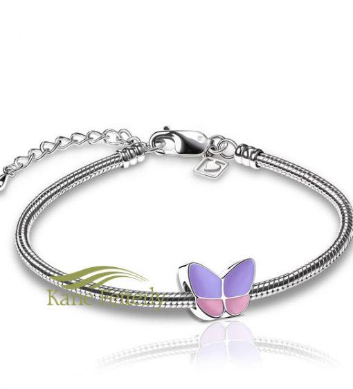 Breloque papillon (illustrée avec bracelet)