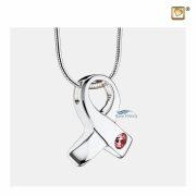 Awareness ribbon pendant for ashes