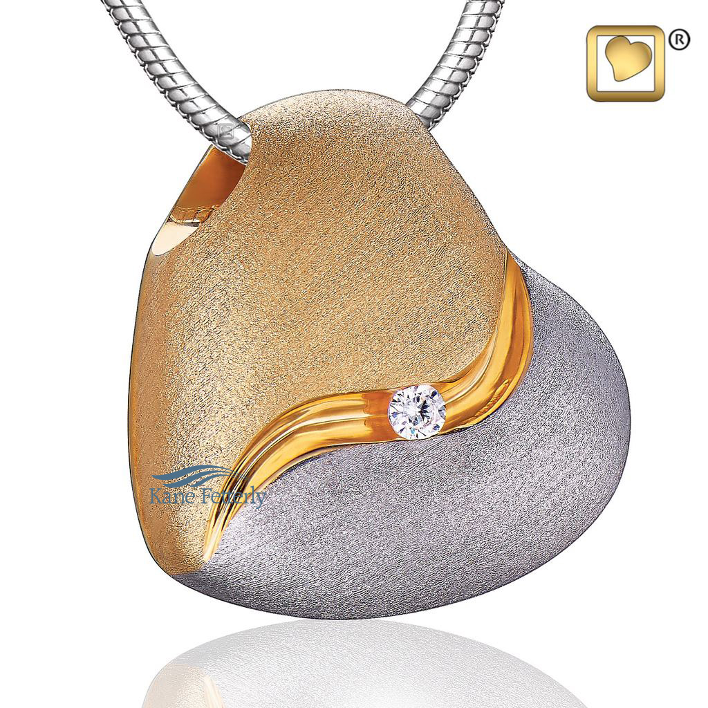 J0281 Silver and gold heart pendant in gold vermeil
