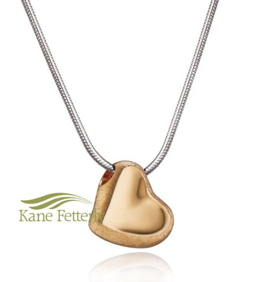 Gold vermeil heart pendant (two-tone finish)