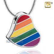 Heart pendant with rainbow motif