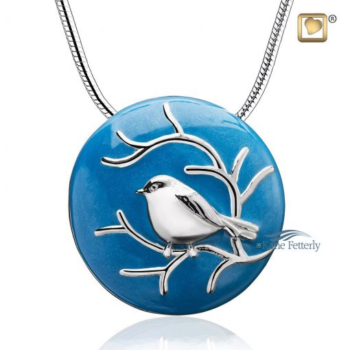 Blue cremation pendant with silver bird