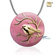 Pink cremation pendant with gold bird