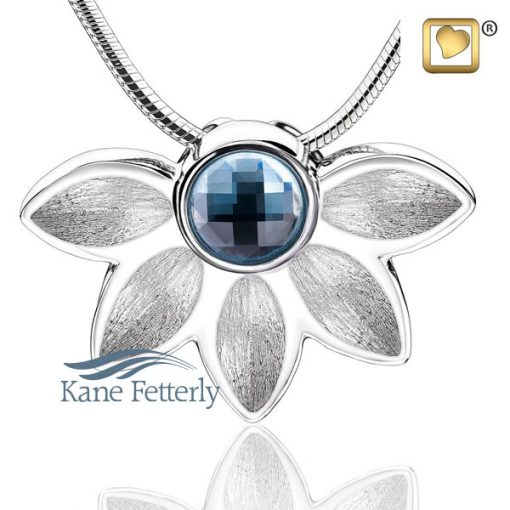 J0308 Pendant in sterling silver with blue Swarovski crystal