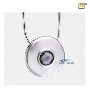 Round cremation pendant with black crystal