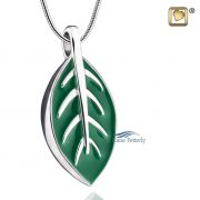 Leaf pendant in .925 sterling silver, enamel rhodium plated.