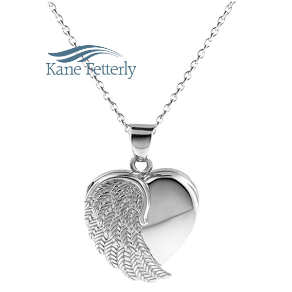 J0400  Heart pendant with angel wing in sterling silver