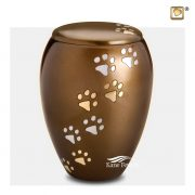Brown pet urn with paws