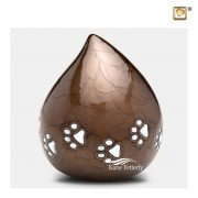 Brown brass drop-shaped pet urn with silver paw prints.