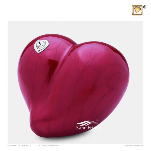 Red heart urn for infant
