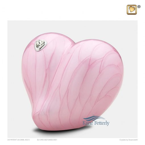 Pink heart urn for baby
