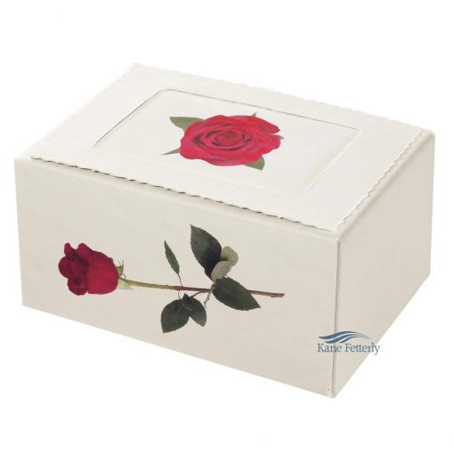 Biodegradable urn with rose motif