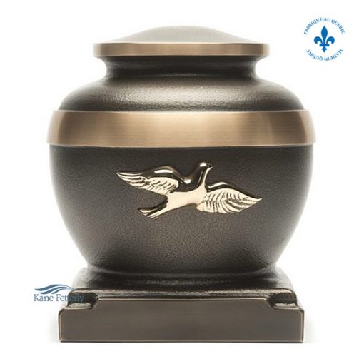 Brown bronze urn with gold dove