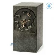 Gray zinc urn with bronze angel