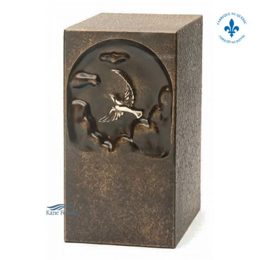 Brown zinc urn with dove