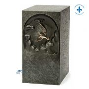 Gray zinc urn with dove ornament