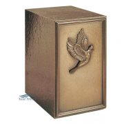 U2P01 Cold cast bronze urn with dove